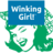 Winking girl logo cut out