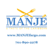 Manje logo with site and phone number